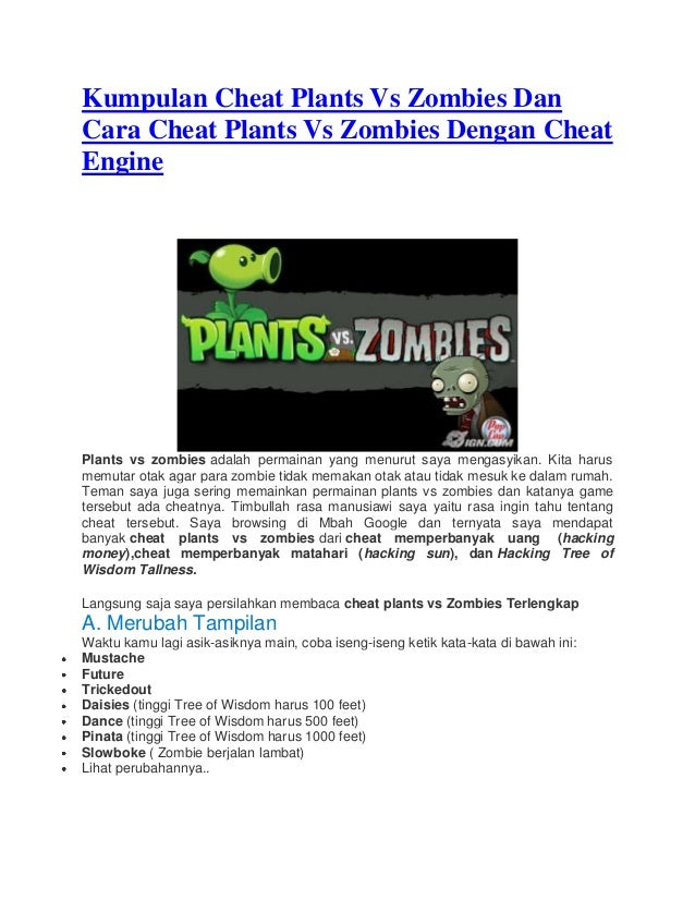 Kumpulan cheat Plants vs Zombies dengan Cheat Engine