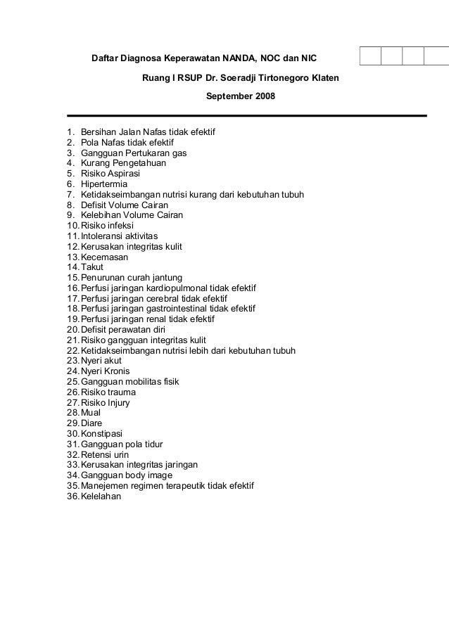 Daftar Diagnosa Keperawatan NANDA, NOC dan NIC Ruang I RSUP Dr. Soeradji Tirtonegoro Klaten September 2008 1. Bersihan Jal...