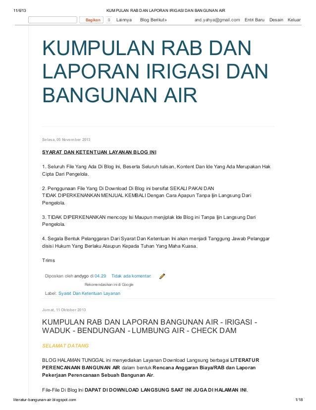 Kumpulan rab dan laporan irigasi dan bangunan air di blog http://literatur-bangunan-air.blogspot.com/