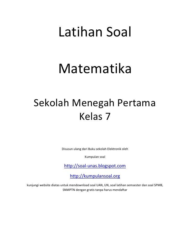 Latihan Soal                       Matematika      Sekolah Menegah Pertama              Kelas 7                         Di...