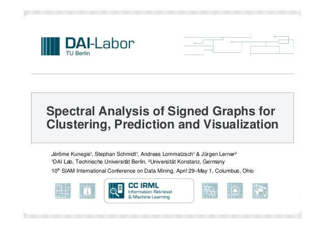 Spectral Analysis of Signed Graphs for Clustering, Prediction and Visualization Jérôme Kunegis¹, Stephan Schmidt¹, Andreas...