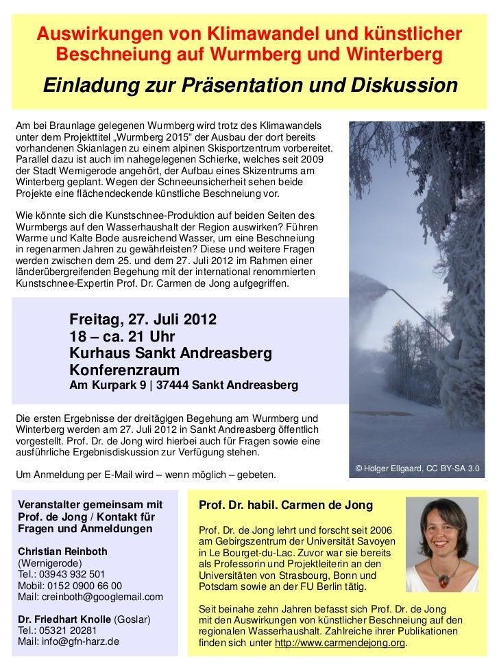 Auswirkungen von Klimawandel und künstlicher      Beschneiung auf Wurmberg und Winterberg      Einladung zur Präsentation ...