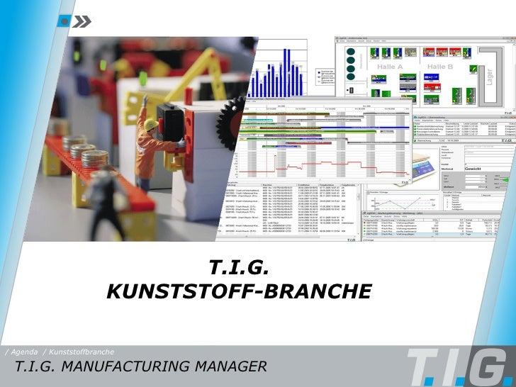 Einleitung T.I.G. KUNSTSTOFF-BRANCHE T.I.G. MANUFACTURING MANAGER / Agenda / Kunststoffbranche