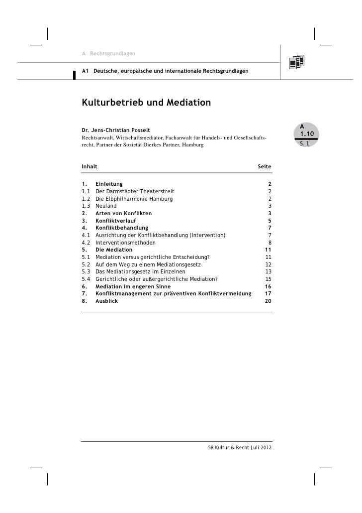A RechtsgrundlagenA1 Deutsche, europäische und internationale RechtsgrundlagenKulturbetrieb und Mediation                 ...