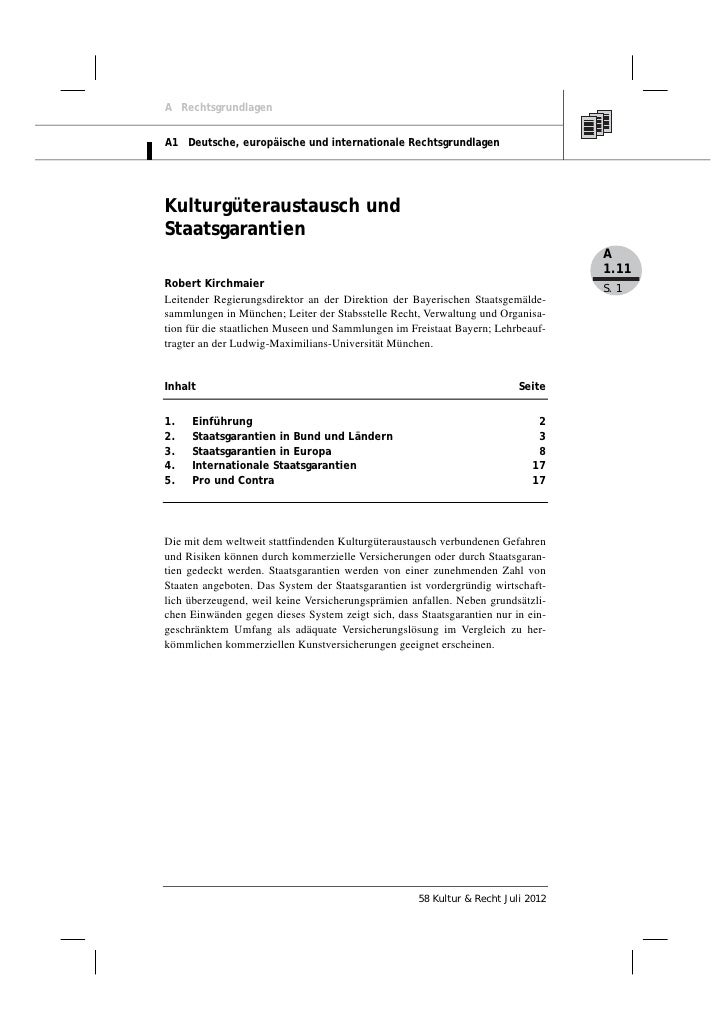 A RechtsgrundlagenA1 Deutsche, europäische und internationale RechtsgrundlagenKulturgüteraustausch undStaatsgarantien     ...