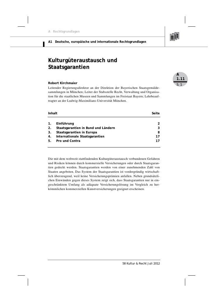 Robert Kirchmaier: Kulturgüteraustausch und Staatsgarantien