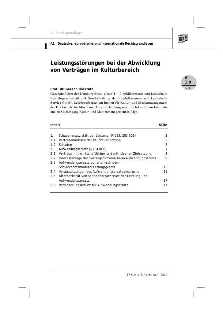 Gereon Röckrath: Leistungsstörungen bei der Abwicklung von Verträgen im Kulturbereich, Teil II
