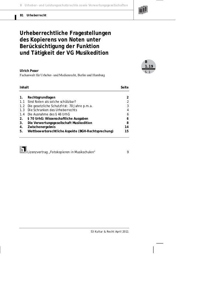 B Urheber- und Leistungsschutzrechte sowie VerwertungsgesellschaftenB1 UrheberrechtUrheberrechtliche Fragestellungendes Ko...