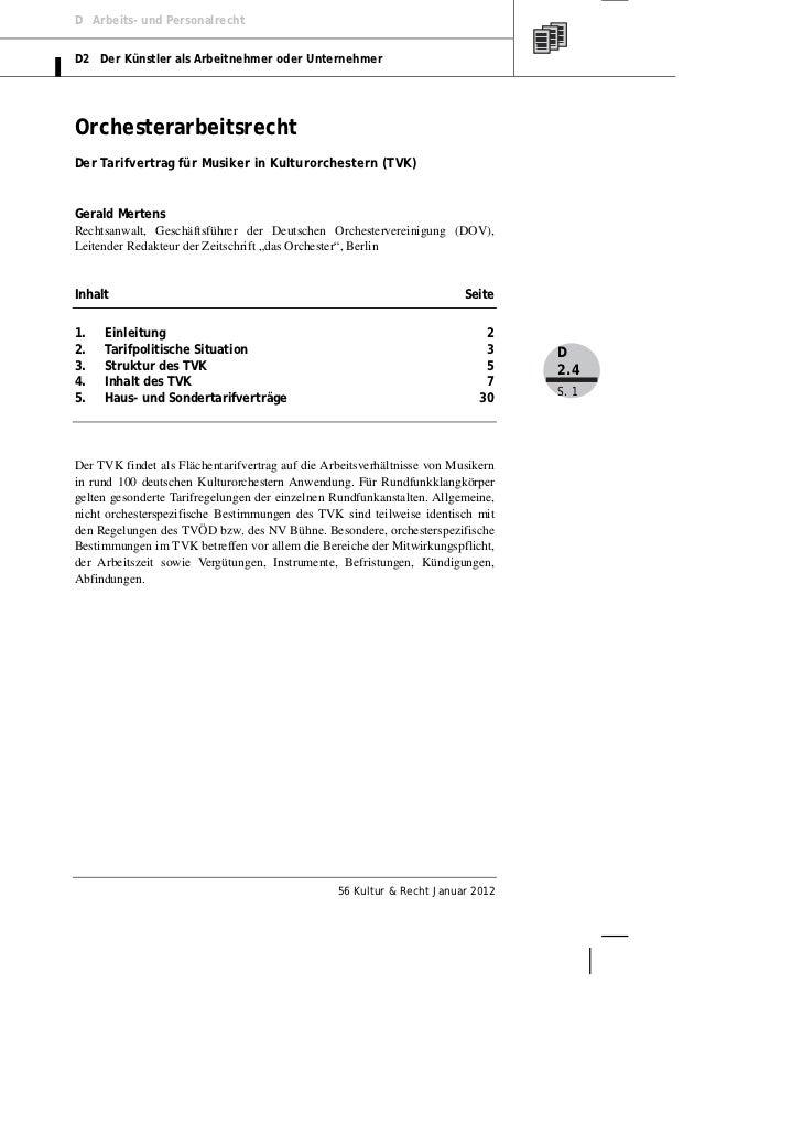 D Arbeits- und PersonalrechtD2 Der Künstler als Arbeitnehmer oder UnternehmerOrchesterarbeitsrechtDer Tarifvertrag für Mus...