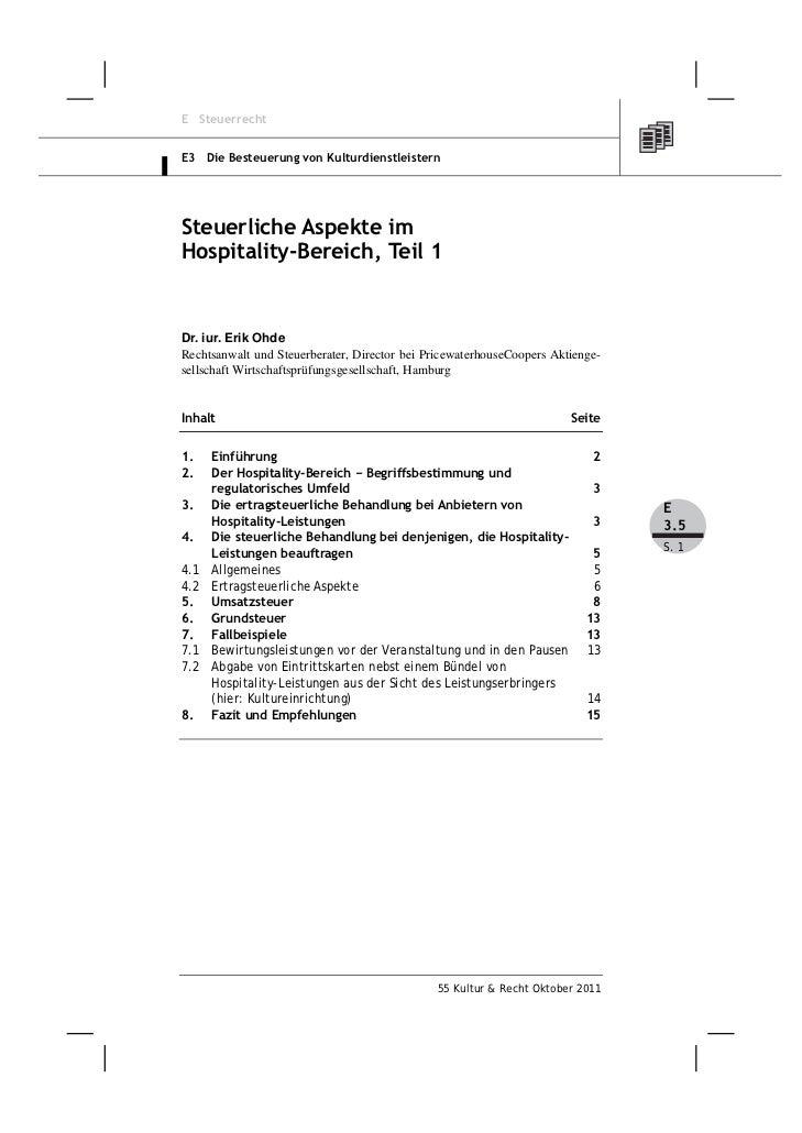 E SteuerrechtE3 Die Besteuerung von KulturdienstleisternSteuerliche Aspekte imHospitality-Bereich, Teil 1Dr. iur. Erik Ohd...