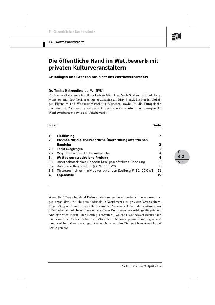 Dr. Tobias Holzmüller: Die öffentliche Hand im Wettbewerb mit privaten Kulturveranstaltern