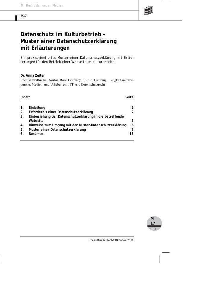 M Recht der neuen MedienM17Datenschutz im Kulturbetrieb –Muster einer Datenschutzerklärungmit ErläuterungenEin praxisorien...