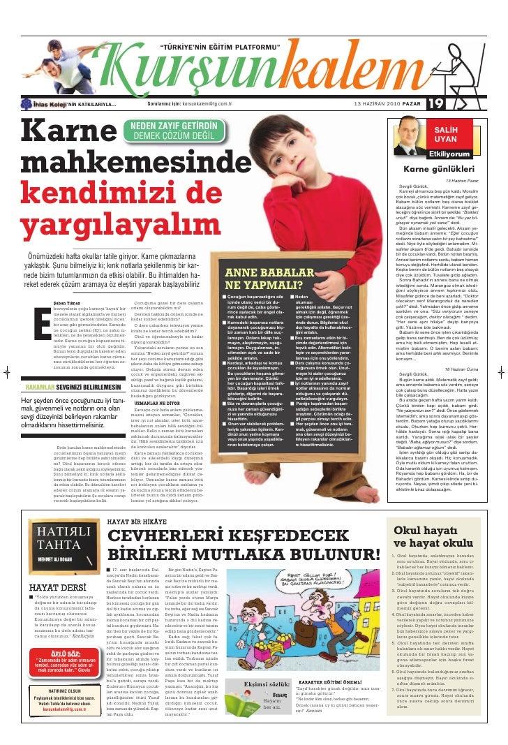 Türkiye Gazetesi ile İhlas Kolejinden Ortak Eğitim Kültür Eki 14.Sayi