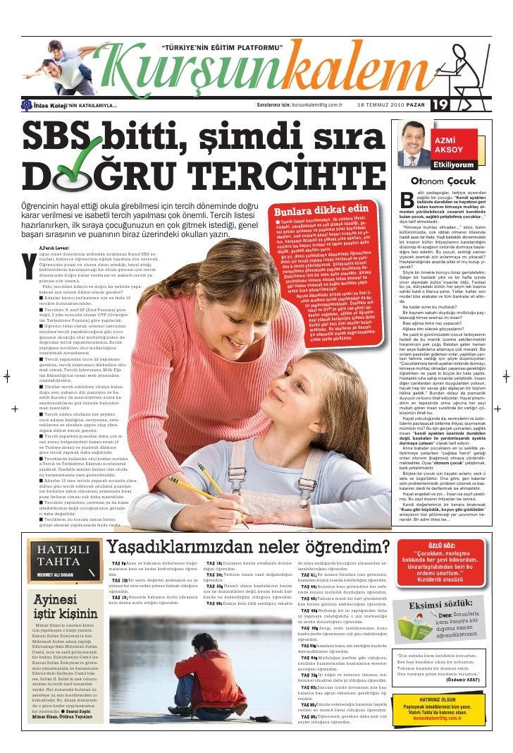 Türkiye Gazetesi ile İhlas Kolejinden Ortak Eğitim Kültür Eki 19.Sayi