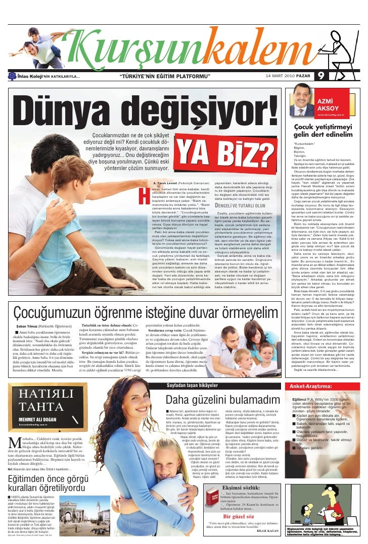 Türkiye Gazetesi ile İhlas Kolejinden Ortak Eğitim Kültür Eki 1. Sayi
