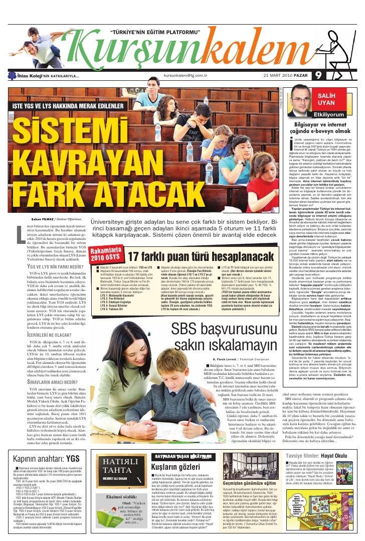 Türkiye Gazetesi ile İhlas Kolejinden Ortak Eğitim Kültür Eki 2.Sayi