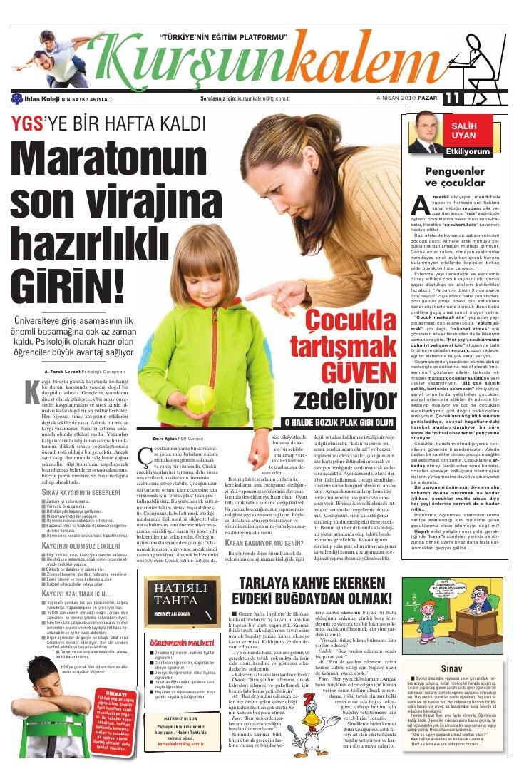 Türkiye Gazetesi ile İhlas Kolejinden Ortak Eğitim Kültür Eki 4.Sayi
