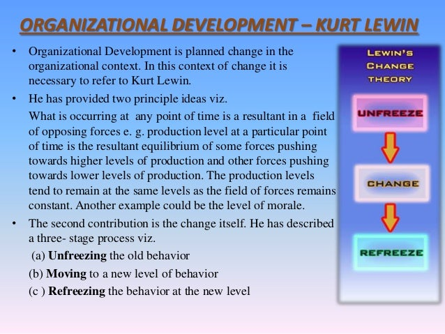 kurt lewin organizational change Kurt lewin's major contributions to management theory are 1 the concepts of  field theory,  development, organizational stress, and organizational change.
