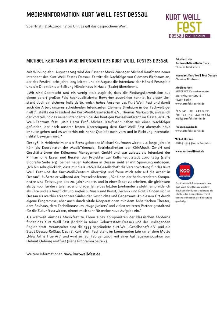 Medieninformation Kurt Weill Fest Dessau Sperrfrist: 18.06.2009, 18.00 Uhr. Es gilt das gesprochene Wort.                 ...