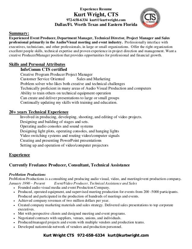 kurt wright cts freelance and experience resumes 972 658