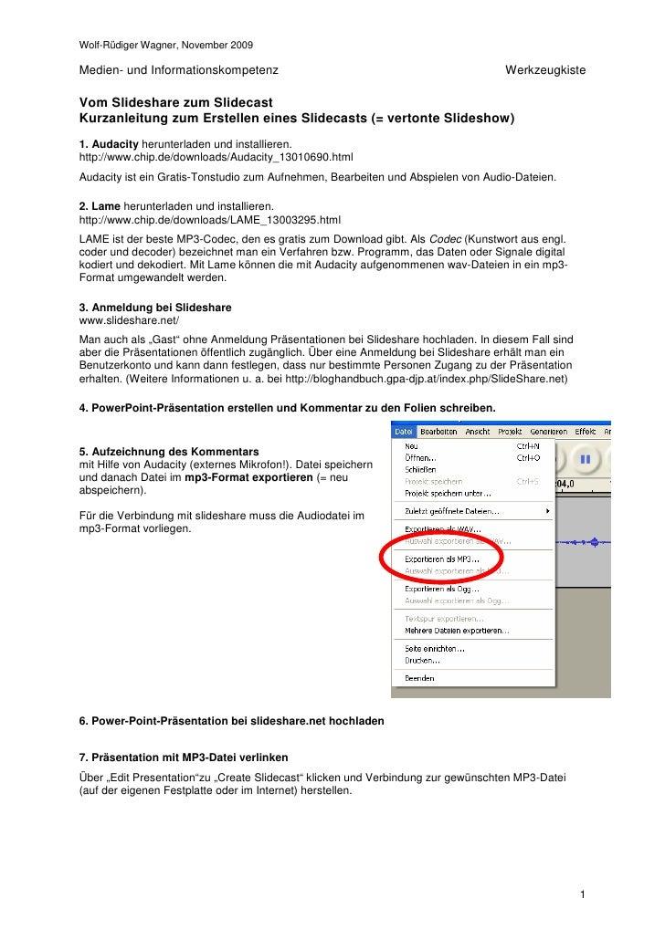 Kurzanleitung Zur Erstellung Eines Slidecasts 19.11.09