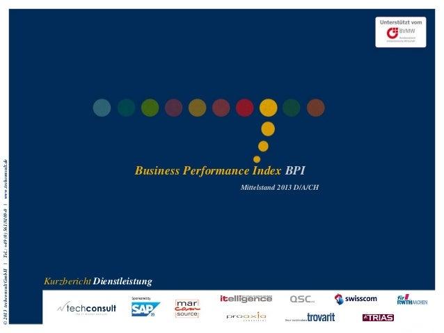 Business Performance Index (BPI) Mittelstand Dienstleistung 2013