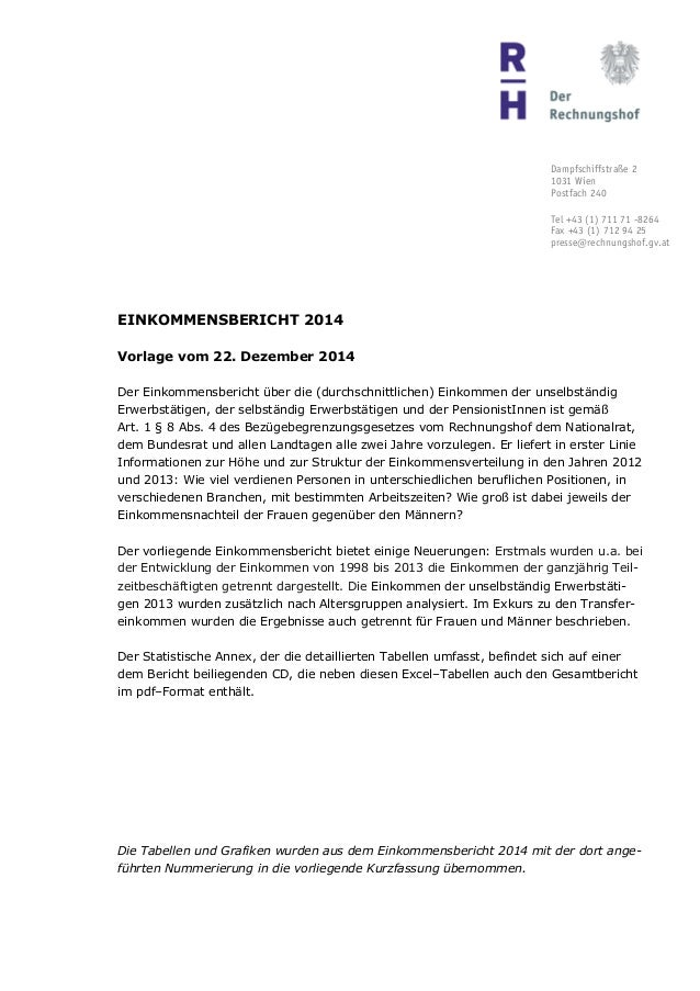 Dampfschiffstraße 2 1031 Wien Postfach 240 Tel +43 (1) 711 71 -8264 Fax +43 (1) 712 94 25 presse@rechnungshof.gv.at EINKOM...
