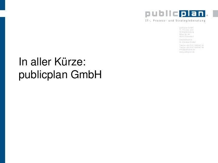 In aller Kürze:publicplan GmbH<br />