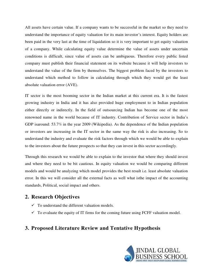 Dissertation valuation companies