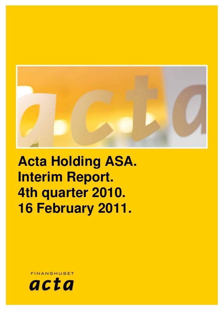 Kvartalsrapport 4. kvartal 2010