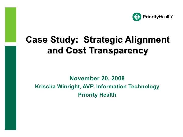 Case Study:  Strategic Alignment and Cost Transparency November 20, 2008 Krischa Winright, AVP, Information Technology Pri...
