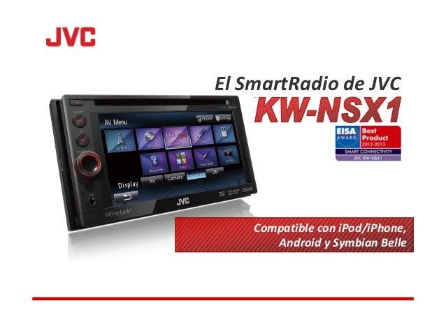 El SmartRadio de JVC    Compatible con iPod/iPhone,       Android y Symbian Belle