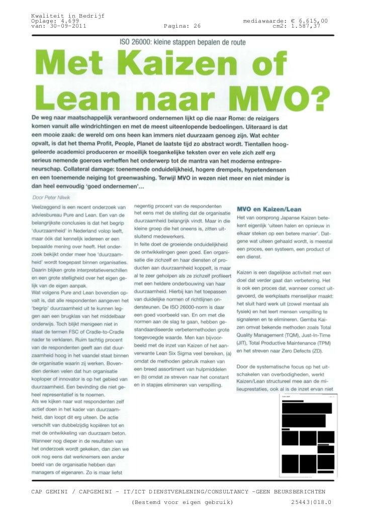 Kwaliteit in BedrijfOplage: 4.699                                             mediawaarde: € 6.615,00van: 30-09-2011      ...