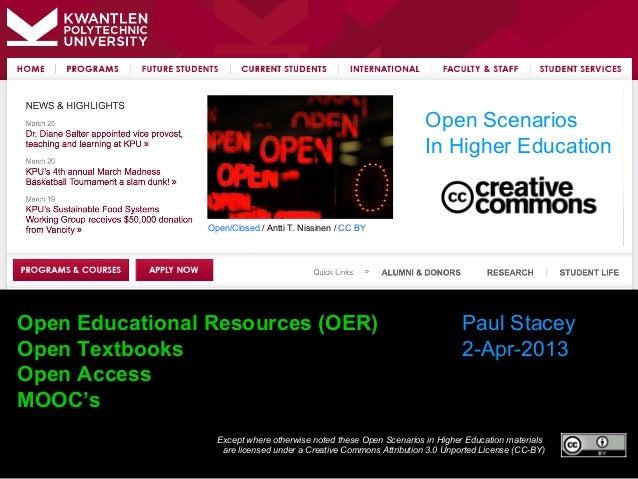 Open Scenarios                                                                    In Higher Education                Open/...