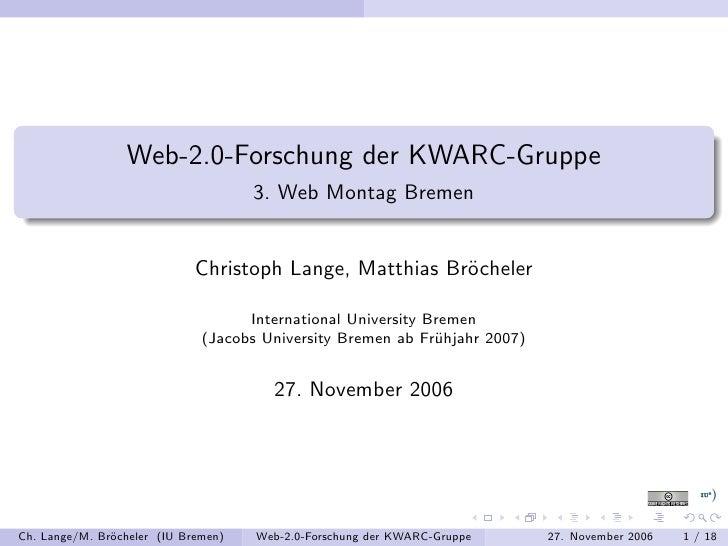 Web-2.0-Forschung der KWARC-Gruppe