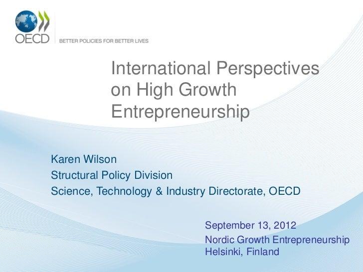 International Perspectives on High Growth Entrepreneurship