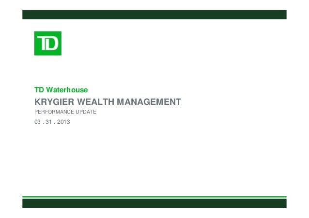 TD WaterhouseKRYGIER WEALTH MANAGEMENTPERFORMANCE UPDATE03 . 31 . 2013