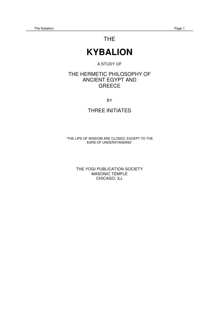 The Kybalion                                                   Page 1                                  THE                ...