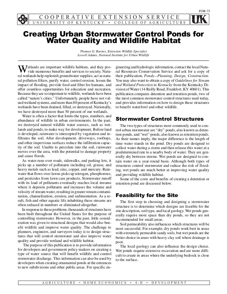 FOR-73   Creating Urban Stormwater Control Ponds for         Water Quality and Wildlife Habitat                           ...