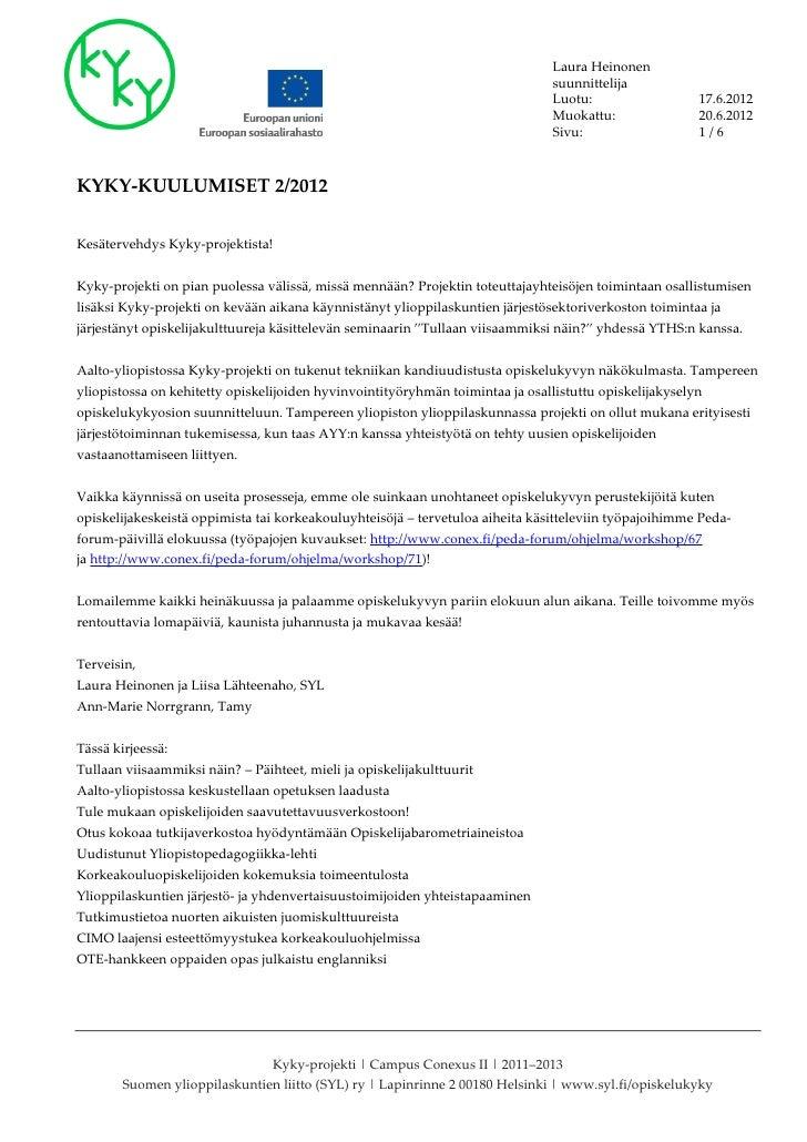 Kyky-kuulumiset 2/2012
