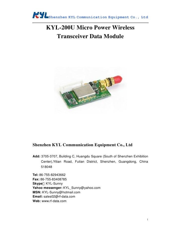 Kyl 200 u rf module user manual