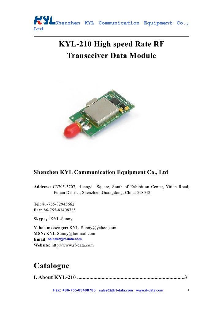 Shenzhen KYL Communication Equipment Co., Ltd                  KYL-210 High speed Rate RF                 Transceiver Data...