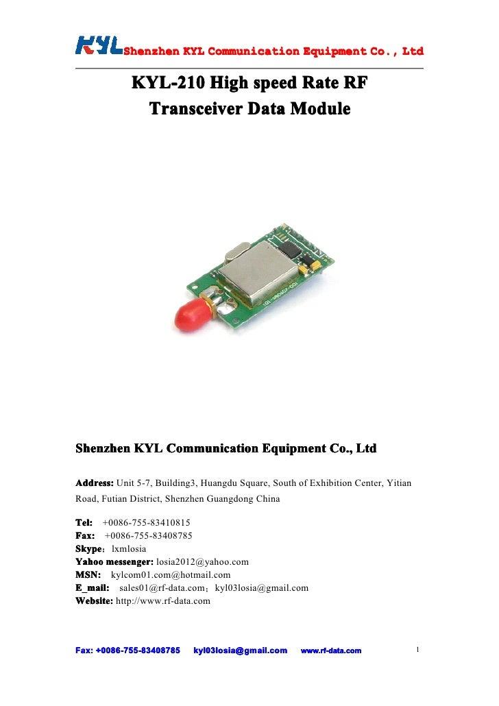 Kyl 210 user manual