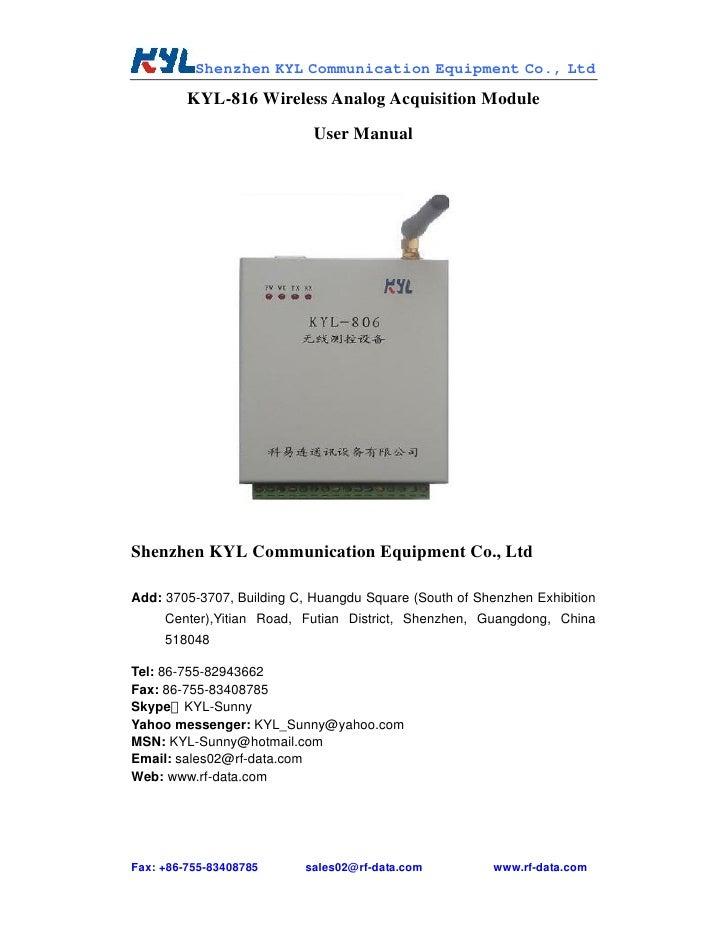 Kyl 816 analog acquisition module