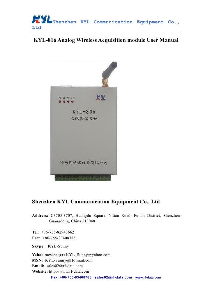 Shenzhen KYL Communication Equipment Co., Ltd  KYL-816 Analog Wireless Acquisition module User Manual     Shenzhen KYL Com...