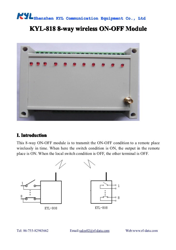 8-way Wireless I/O module, ON-OFF Remote Control