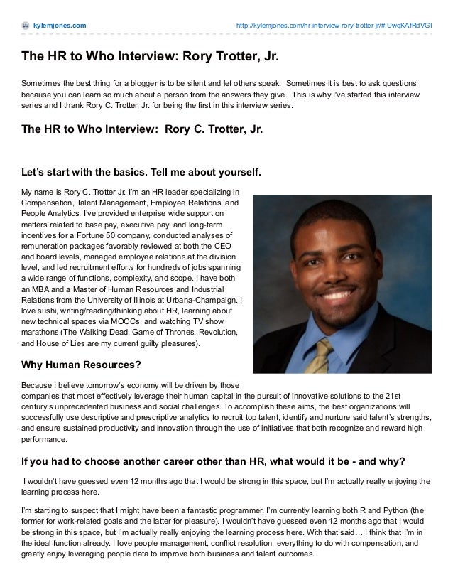 The HR to Who Interview featuring HR Pro Rory C. Trotter, Jr.