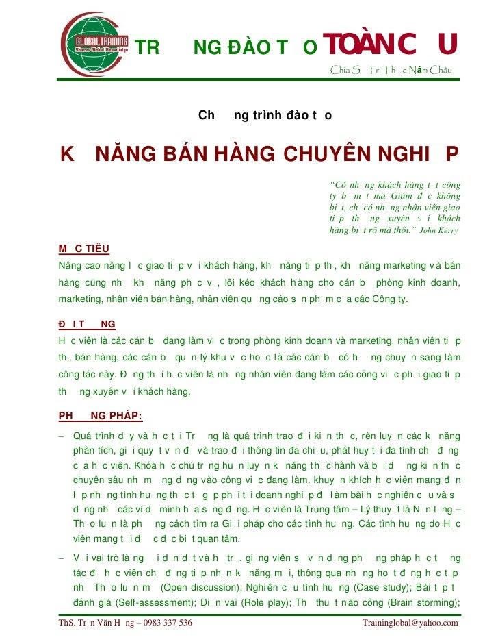 khoa hoc Ky Nang Ban Hang Chuyen Nghiep