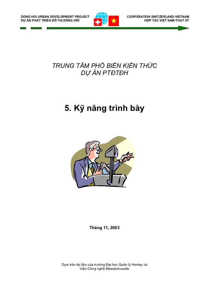 DONG HOI URBAN DEVELOPMENT PROJECT                           COOPERATION SWITZERLAND-VIETNAMDỰ ÁN PHÁT TRIỂN ĐÔ THỊ ĐỒNG H...