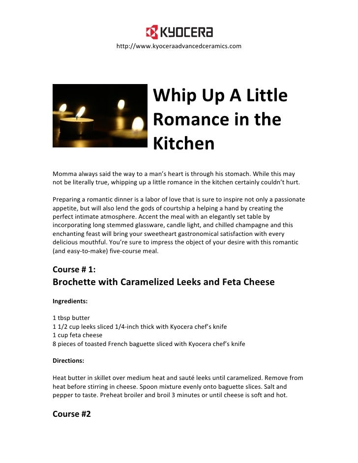 Whip Up A Little Romance in the Kitchen - Romantic Recipes from Kyocera Advanced Ceramics